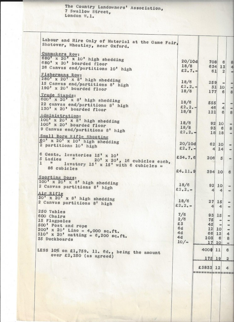 Invoice from the 70's for the CLA Game Fair Shotover, Wheatley, near Oxford.