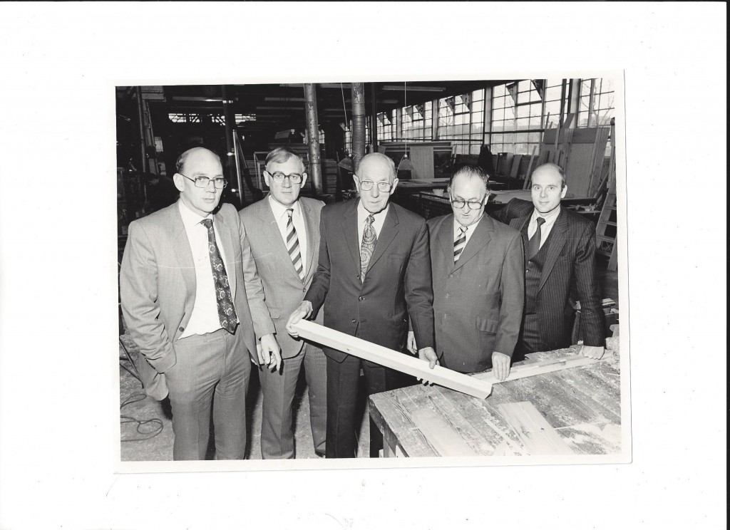 The 3rd & 4th Generation Woodhouse Family, Michael, Robert, Leslie, Bruce and Richard in the Iremonger Road workshops.