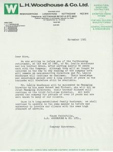 November 1981 Retirement Letter LV & BC Woodhouse
