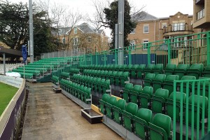 4 Tier grandstand seating for tennis.